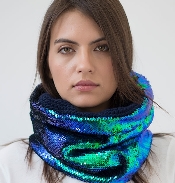 KNITTED MERMAID SEQUIN SNOOD