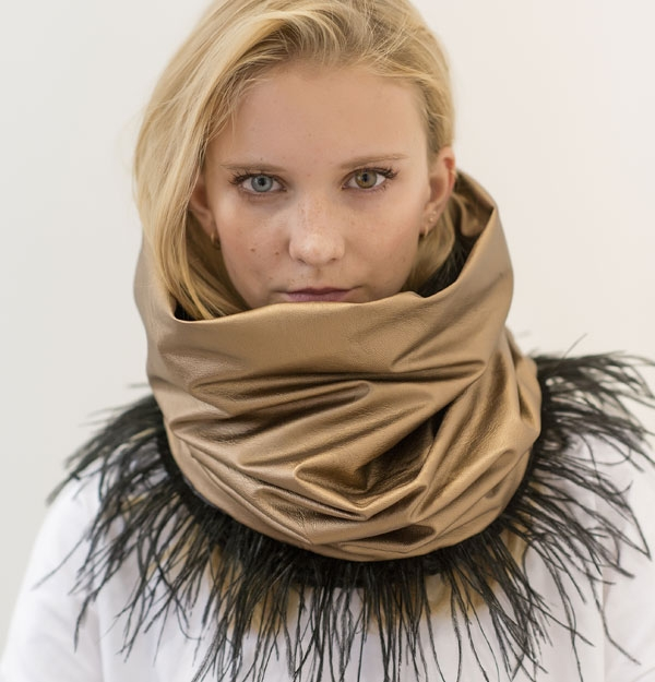 KNITTED SNOOD ECO WITH GOLD ECO LEATHER & FEATHERS