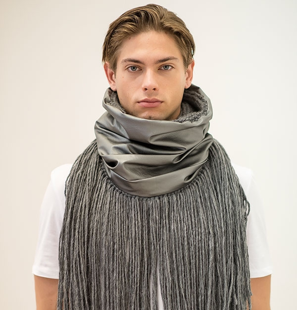KNITTED SNOOD WITH ECO LEATHER & FRINGES
