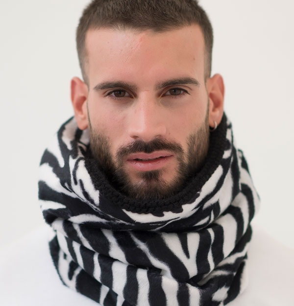 KNITTED SNOOD ZEBRA ECO FUR